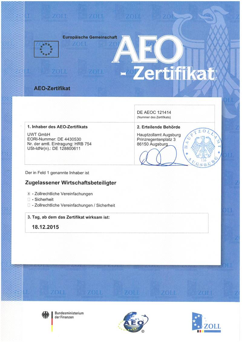 Certified reliability uwt carries aeo c certification uwt gmbh this certification is an indicator uwt gmbhs high reliability as an international trading partner with secure solvency corresponding to all relevant xflitez Image collections
